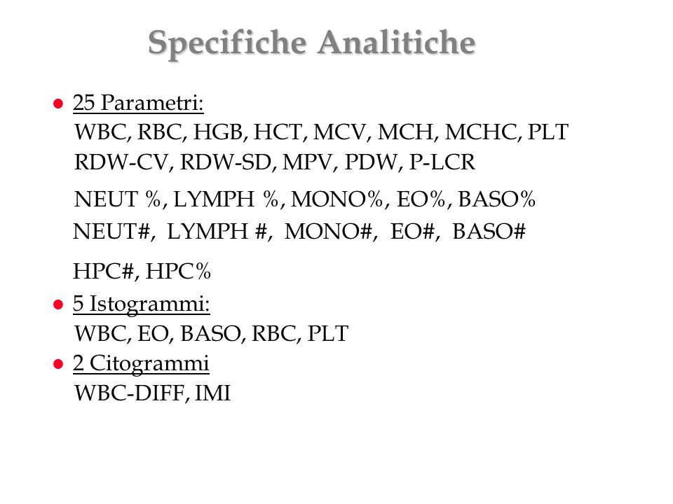 Specifiche Analitiche