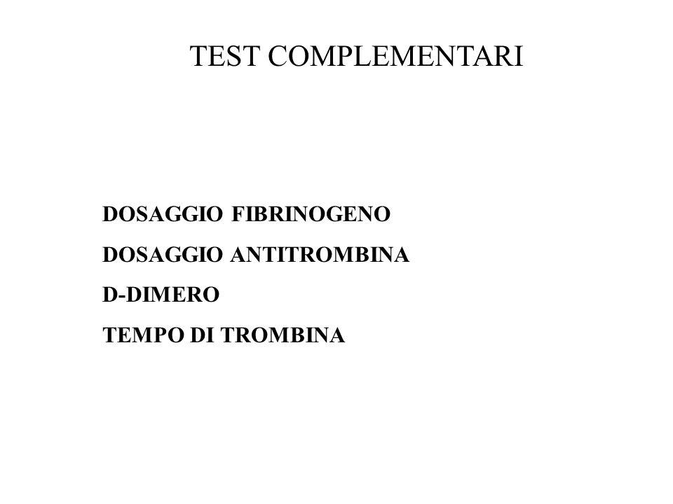 TEST COMPLEMENTARI DOSAGGIO FIBRINOGENO DOSAGGIO ANTITROMBINA D-DIMERO
