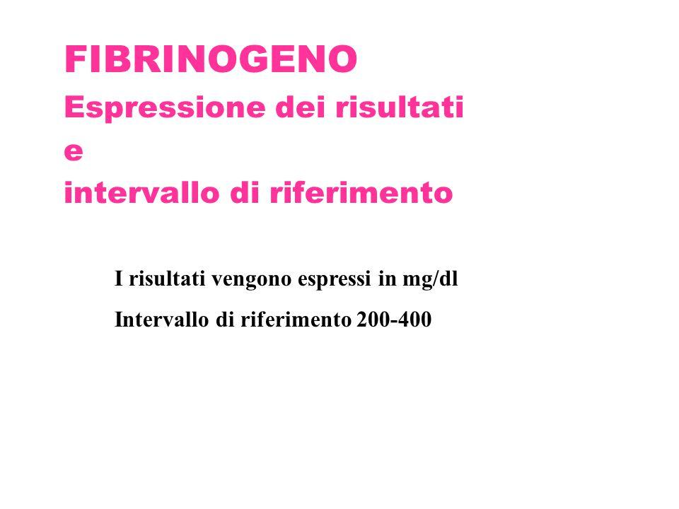 FIBRINOGENO Espressione dei risultati e intervallo di riferimento