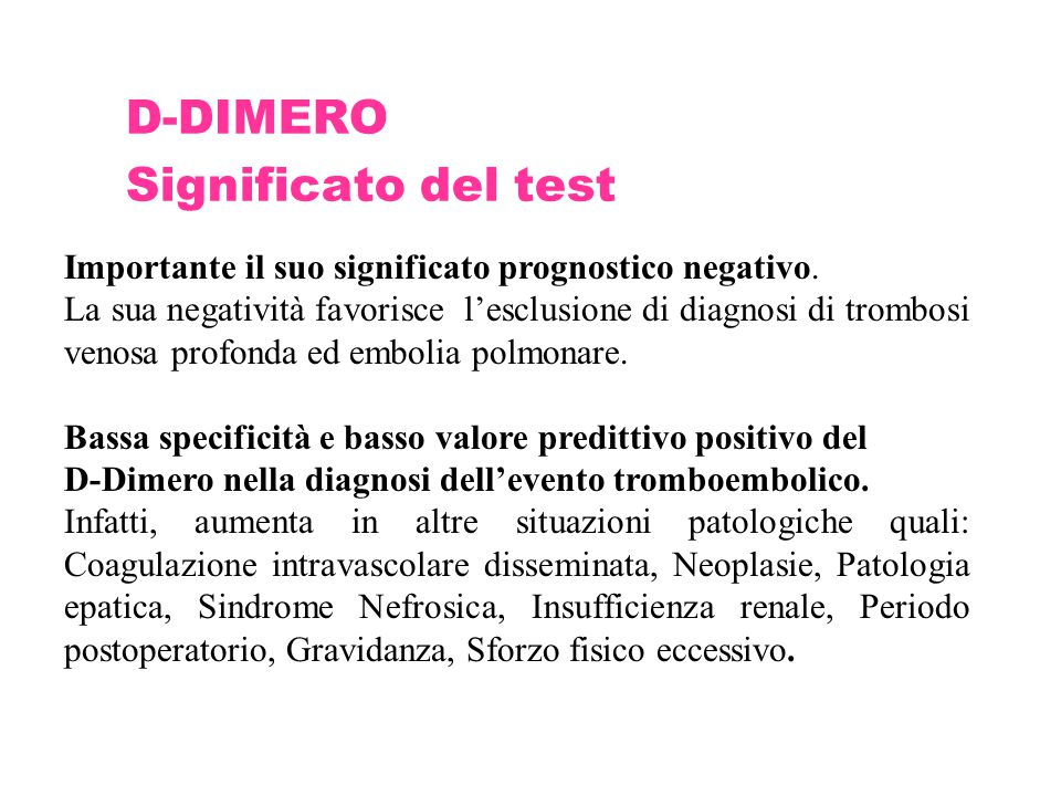 D-DIMERO Significato del test