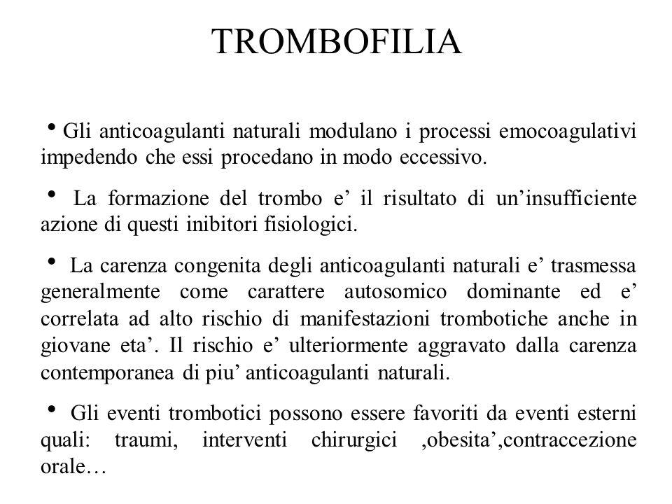 TROMBOFILIA Gli anticoagulanti naturali modulano i processi emocoagulativi impedendo che essi procedano in modo eccessivo.