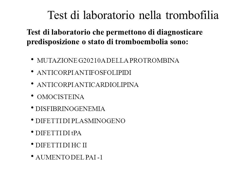 Test di laboratorio nella trombofilia