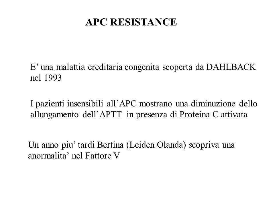 APC RESISTANCE E' una malattia ereditaria congenita scoperta da DAHLBACK nel 1993. I pazienti insensibili all'APC mostrano una diminuzione dello.
