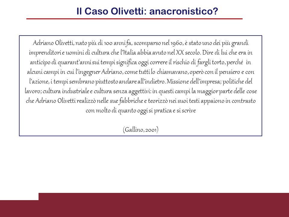 Il Caso Olivetti: anacronistico
