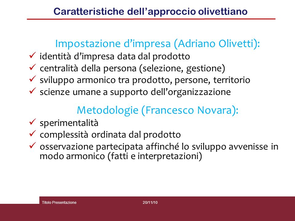 Impostazione d'impresa (Adriano Olivetti):