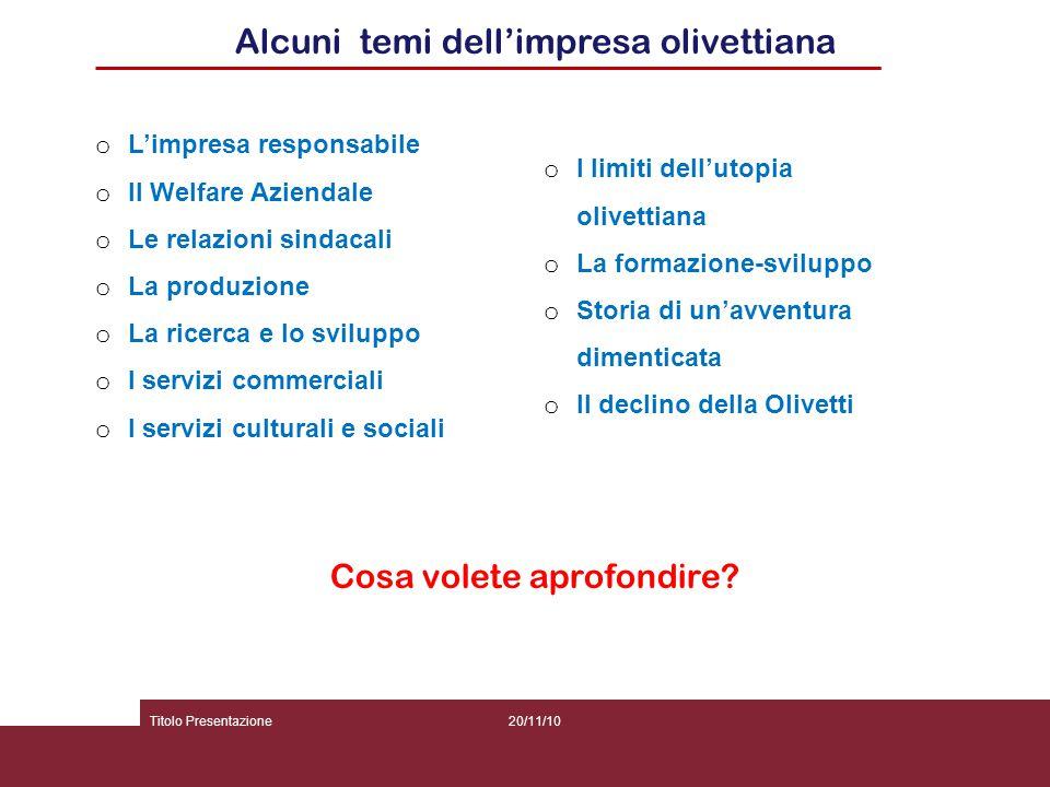 Alcuni temi dell'impresa olivettiana