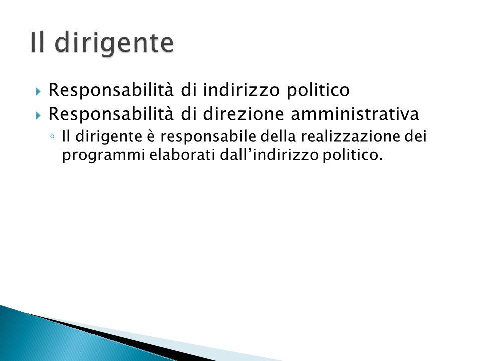 Il dirigente Responsabilità di indirizzo politico