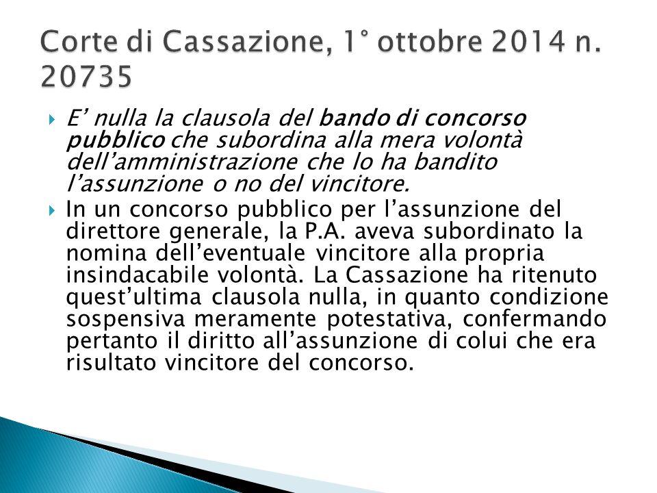 Corte di Cassazione, 1° ottobre 2014 n. 20735
