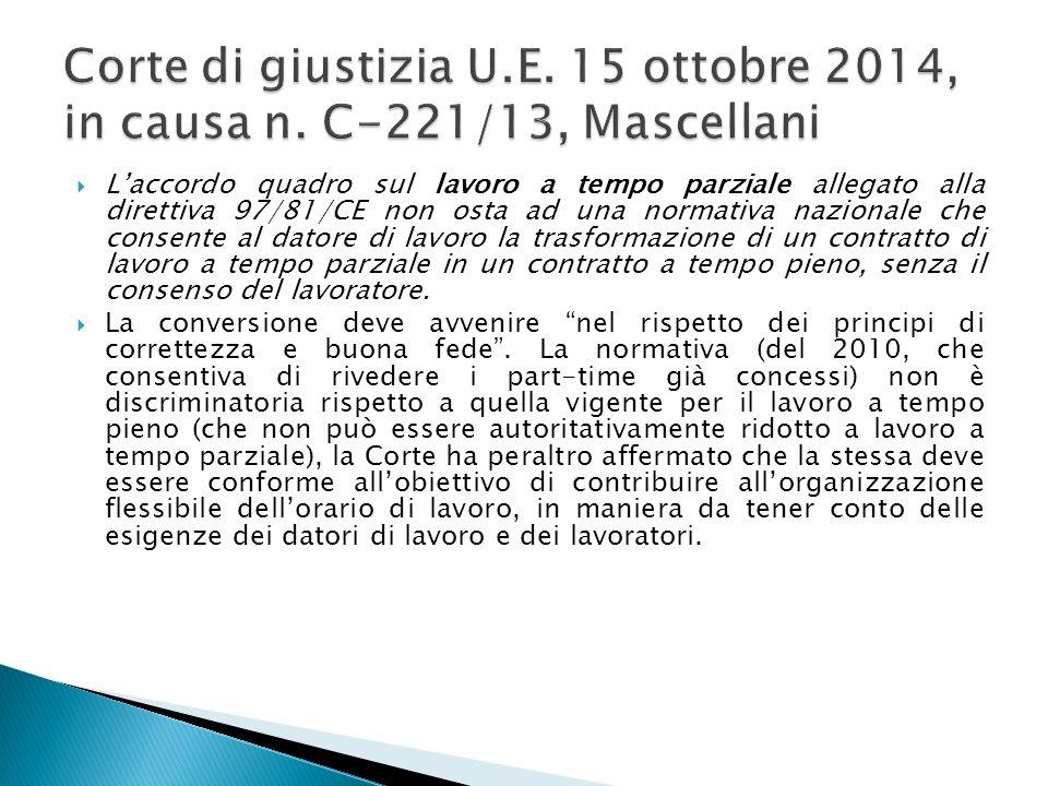 Corte di giustizia U. E. 15 ottobre 2014, in causa n