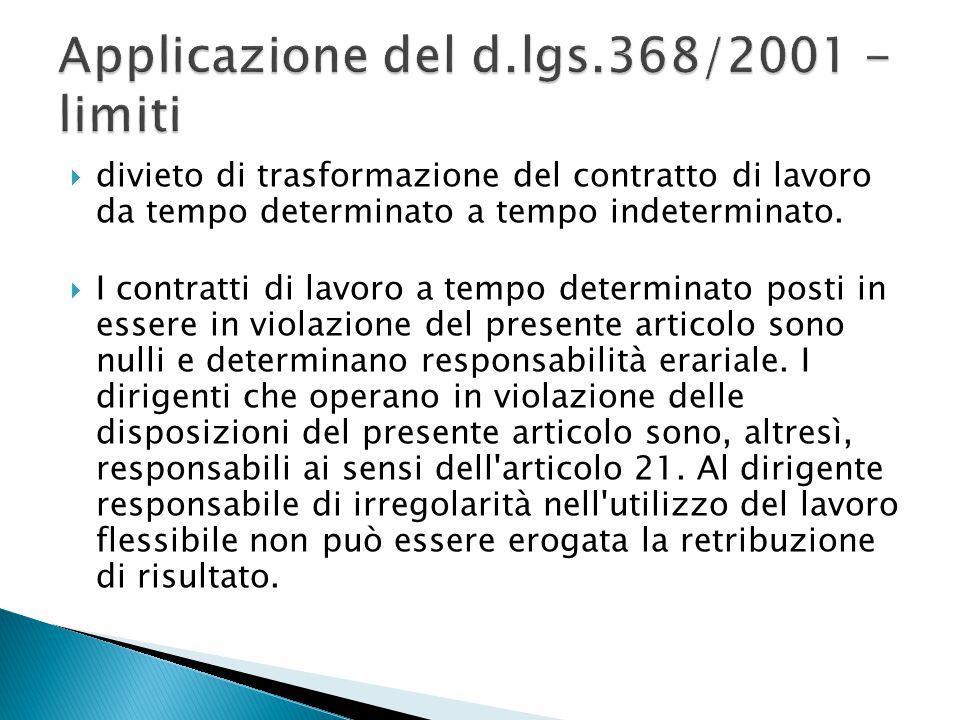 Applicazione del d.lgs.368/2001 - limiti
