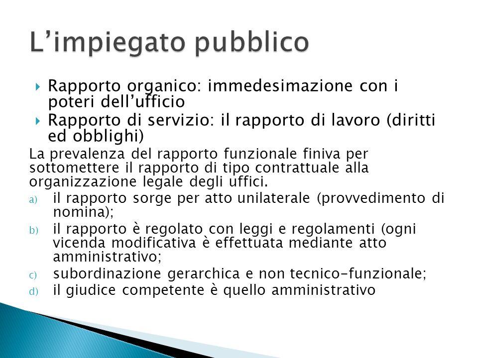 L'impiegato pubblico Rapporto organico: immedesimazione con i poteri dell'ufficio.