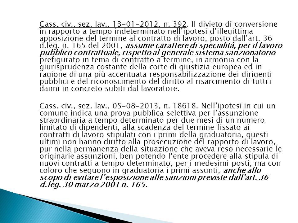 Cass. civ., sez. lav., 13-01-2012, n. 392.