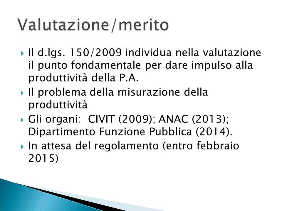 Valutazione/merito Il d.lgs. 150/2009 individua nella valutazione il punto fondamentale per dare impulso alla produttività della P.A.