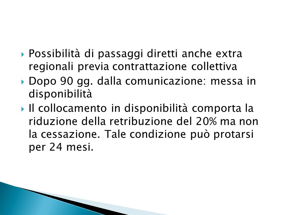 Possibilità di passaggi diretti anche extra regionali previa contrattazione collettiva