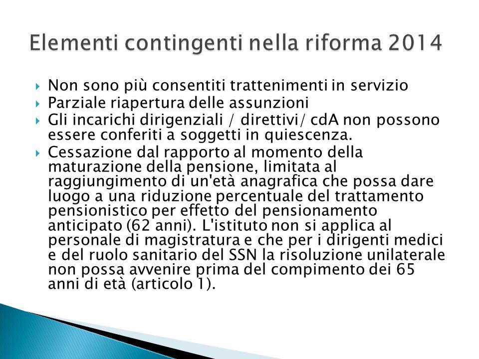 Elementi contingenti nella riforma 2014
