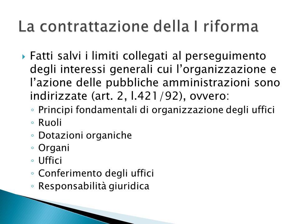 La contrattazione della I riforma