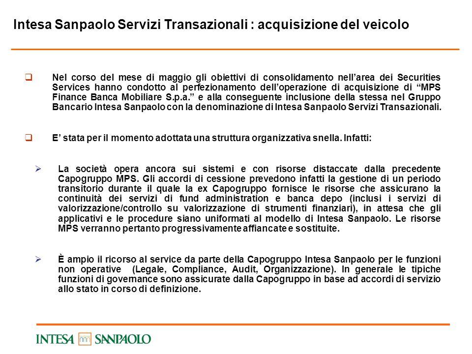 Intesa Sanpaolo Servizi Transazionali : acquisizione del veicolo