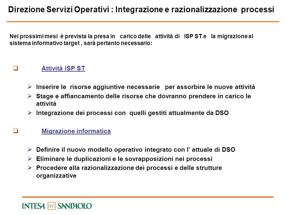 Direzione Servizi Operativi : Integrazione e razionalizzazione processi