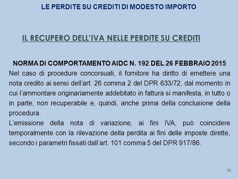 IL RECUPERO DELL'IVA NELLE PERDITE SU CREDITI