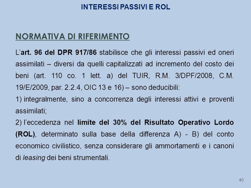 INTERESSI PASSIVI E ROL