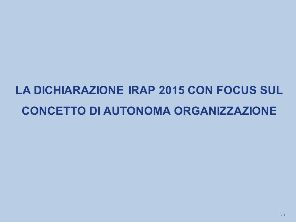 LA DICHIARAZIONE IRAP 2015 CON FOCUS SUL CONCETTO DI AUTONOMA ORGANIZZAZIONE