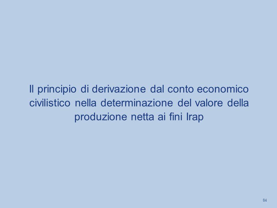 Il principio di derivazione dal conto economico civilistico nella determinazione del valore della produzione netta ai fini Irap