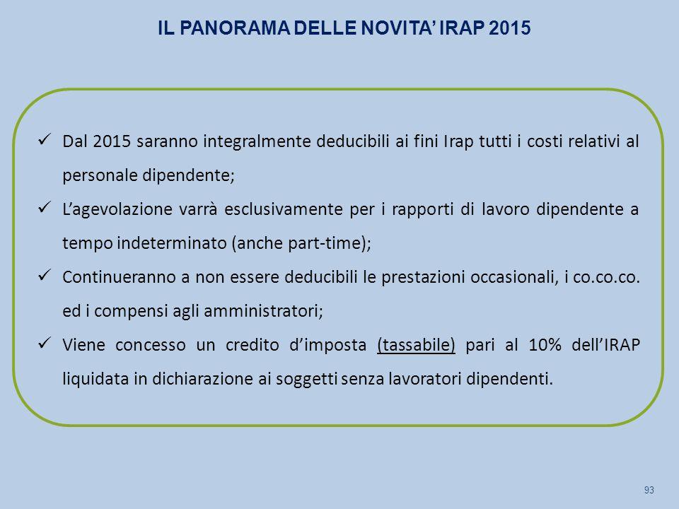 IL PANORAMA DELLE NOVITA' IRAP 2015