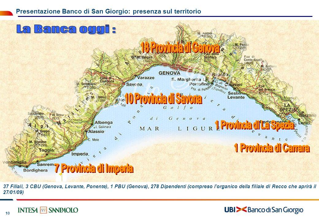 La Banca oggi : 18 Provincia di Genova 10 Provincia di Savona