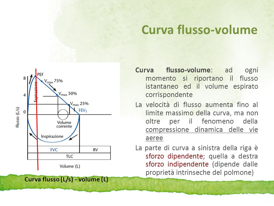 Curva flusso (L/s) - volume (L)