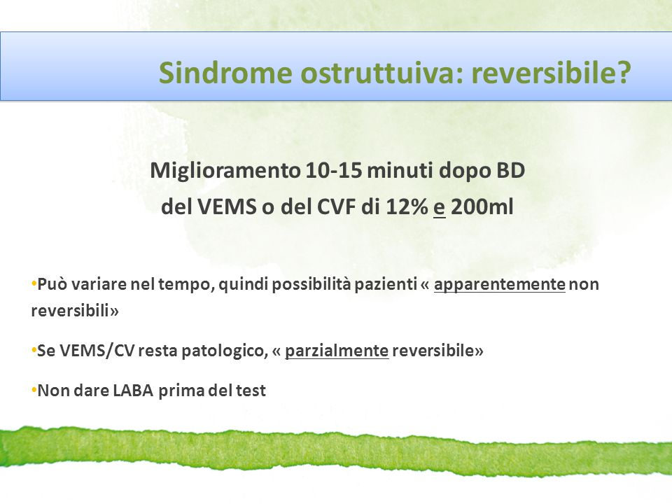 Sindrome ostruttuiva: reversibile