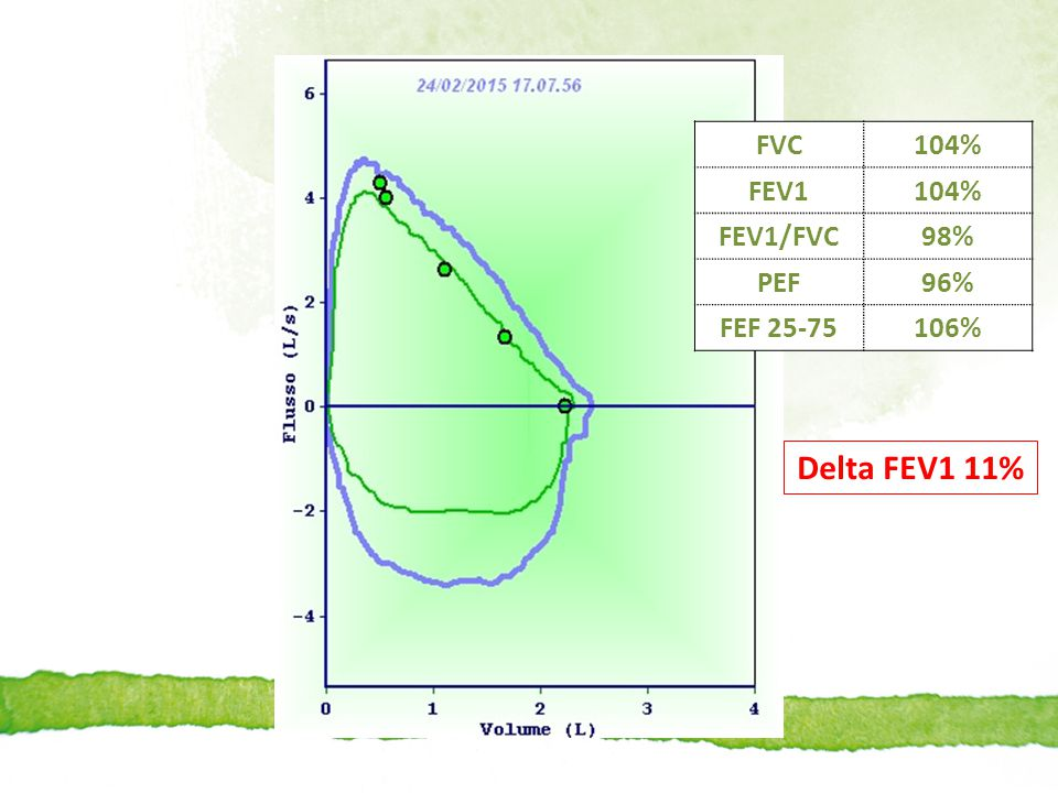 FVC 104% FEV1 FEV1/FVC 98% PEF 96% FEF 25-75 106% Delta FEV1 11%