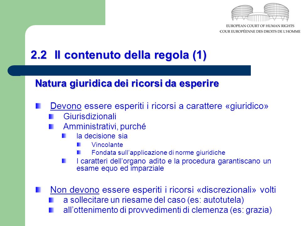 2.2 Il contenuto della regola (1)