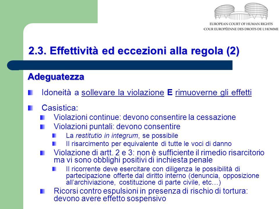 2.3. Effettività ed eccezioni alla regola (2)