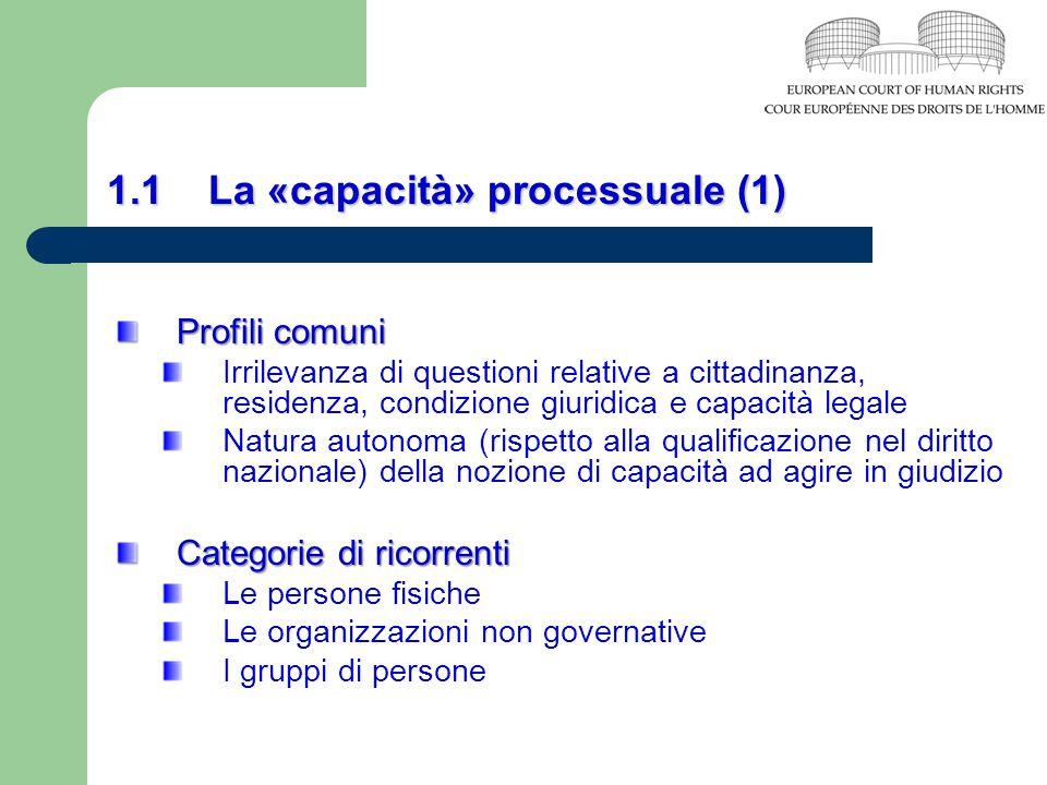 1.1 La «capacità» processuale (1)