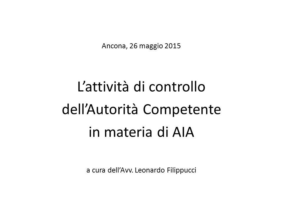 L'attività di controllo dell'Autorità Competente in materia di AIA