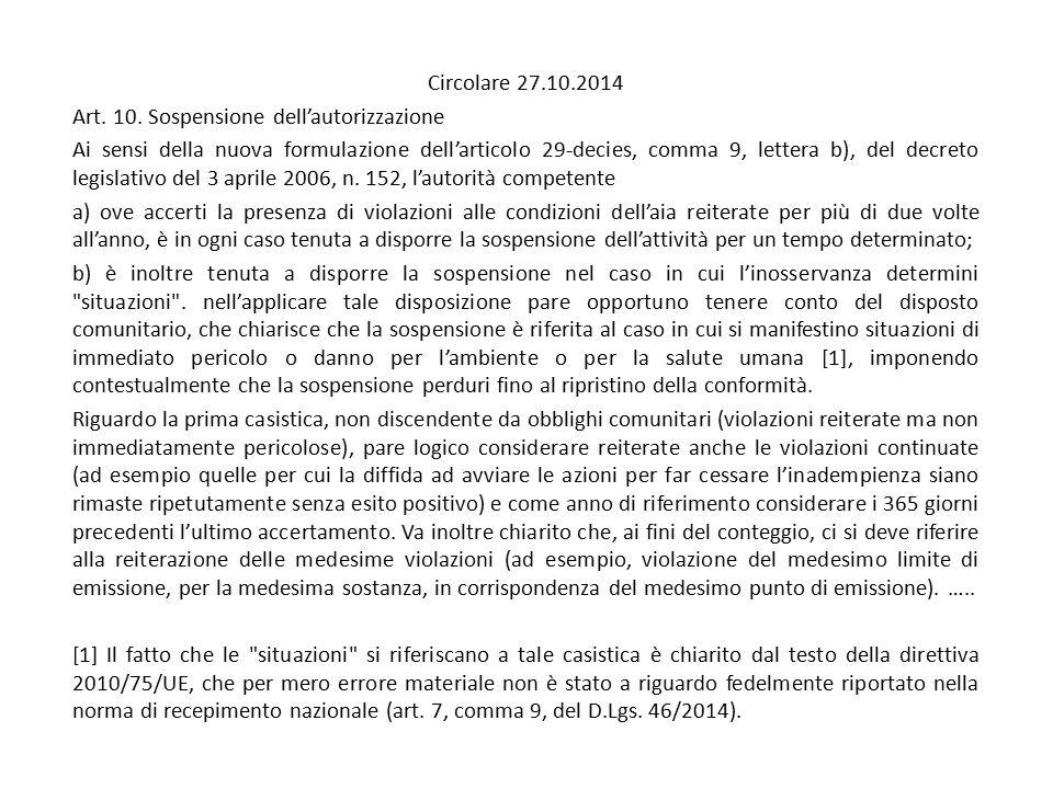 Circolare 27.10.2014 Art. 10. Sospensione dell'autorizzazione.