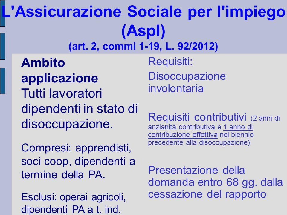 L Assicurazione Sociale per l impiego (AspI) (art. 2, commi 1-19, L