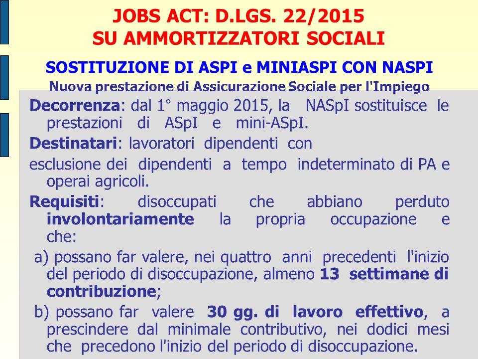 JOBS ACT: D.LGS. 22/2015 SU AMMORTIZZATORI SOCIALI