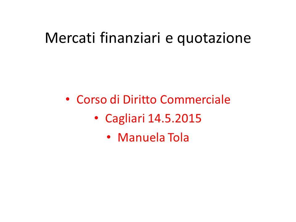 Mercati finanziari e quotazione