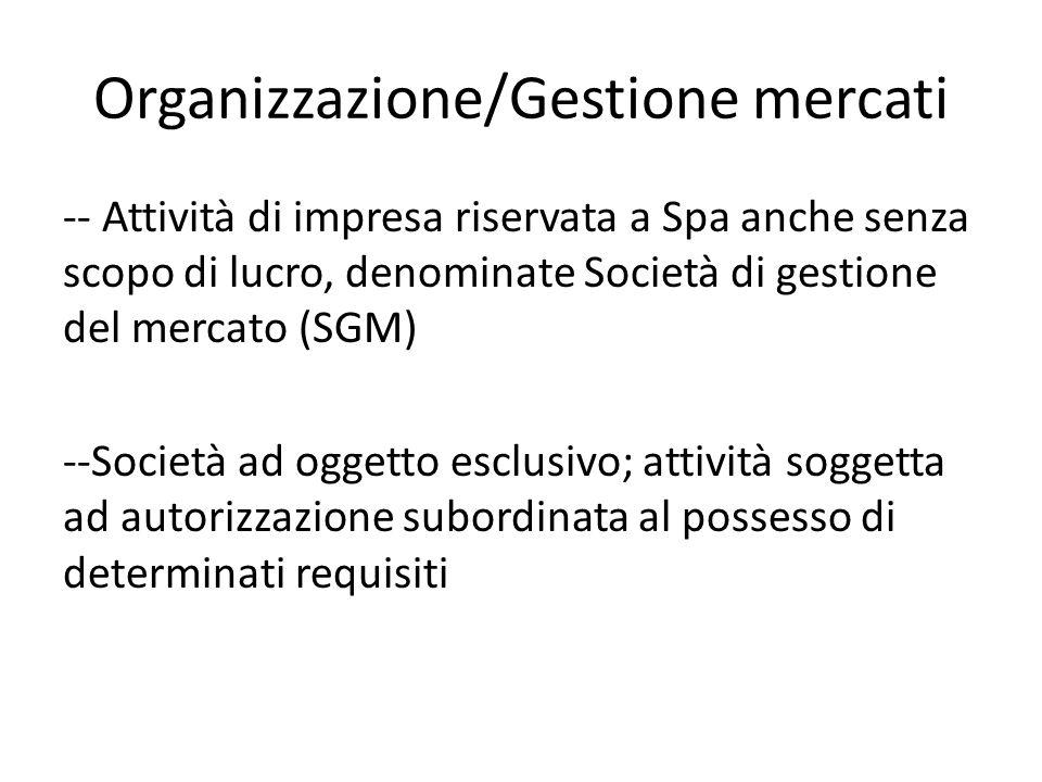 Organizzazione/Gestione mercati
