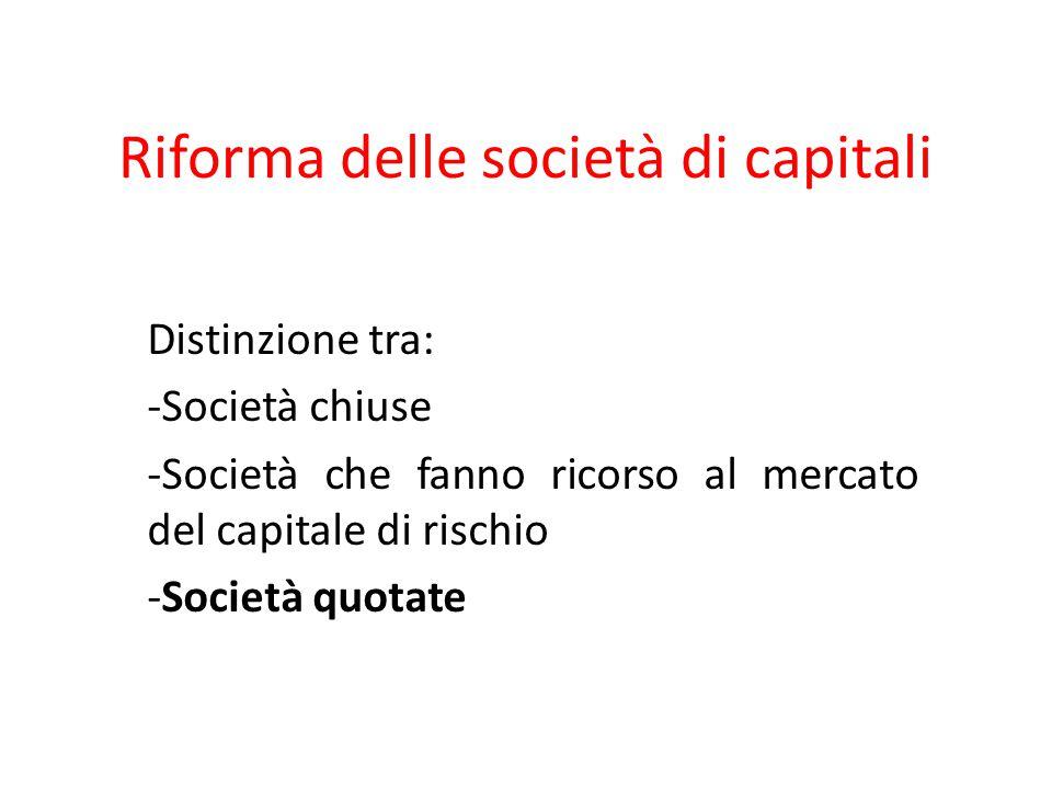 Riforma delle società di capitali