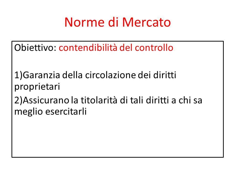 Norme di Mercato Obiettivo: contendibilità del controllo