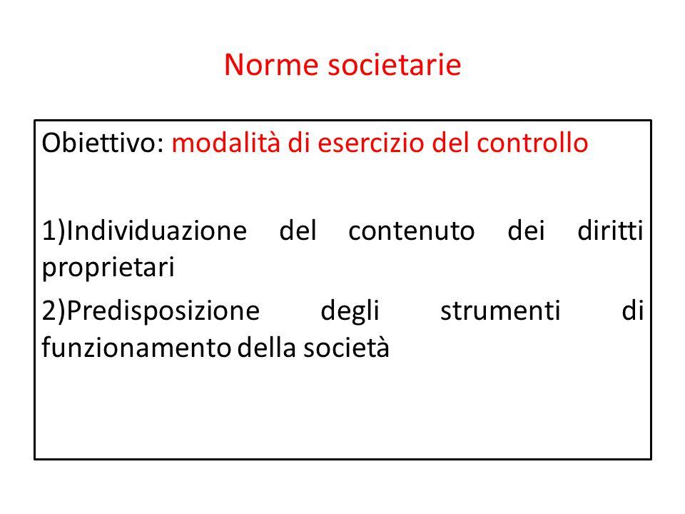 Norme societarie Obiettivo: modalità di esercizio del controllo