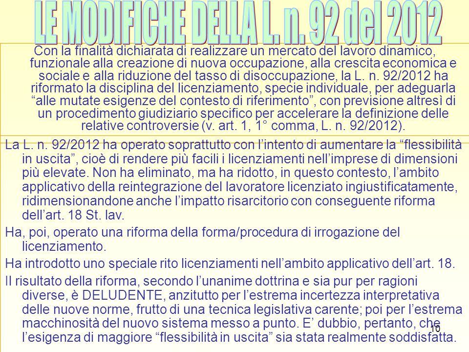 LE MODIFICHE DELLA L. n. 92 del 2012