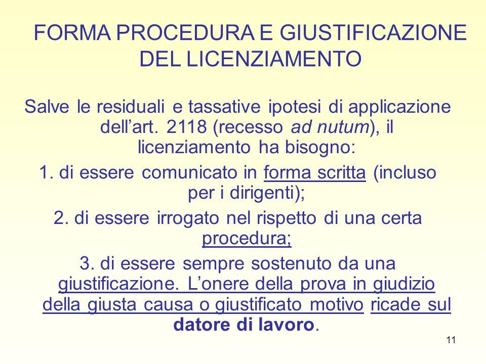 FORMA PROCEDURA E GIUSTIFICAZIONE DEL LICENZIAMENTO