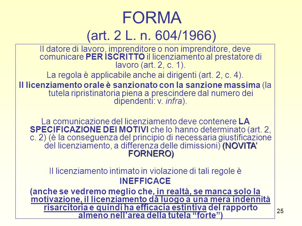 FORMA (art. 2 L. n. 604/1966)