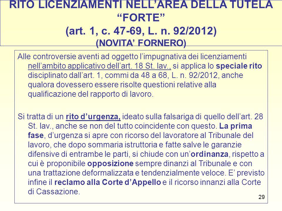 RITO LICENZIAMENTI NELL'AREA DELLA TUTELA FORTE (art. 1, c. 47-69, L