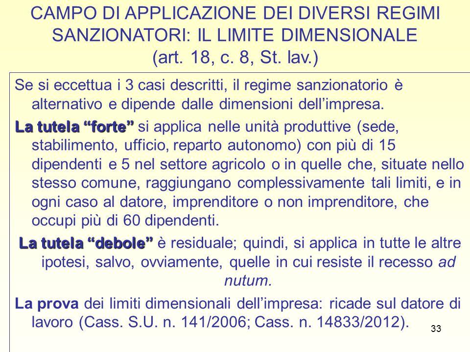 CAMPO DI APPLICAZIONE DEI DIVERSI REGIMI SANZIONATORI: IL LIMITE DIMENSIONALE (art. 18, c. 8, St. lav.)