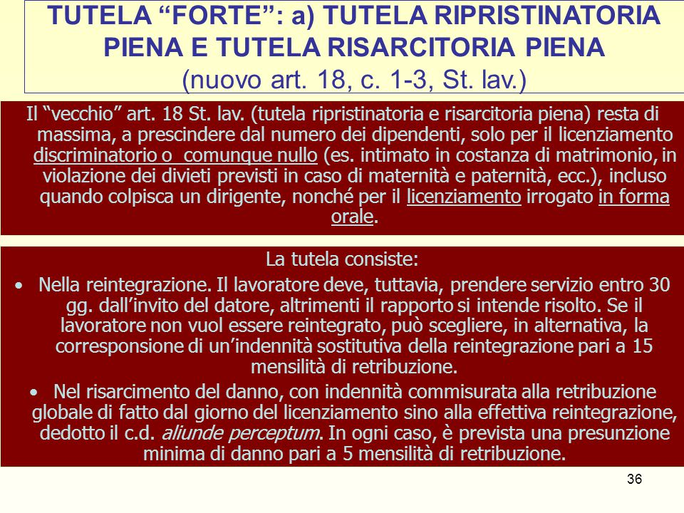 TUTELA FORTE : a) TUTELA RIPRISTINATORIA PIENA E TUTELA RISARCITORIA PIENA (nuovo art. 18, c. 1-3, St. lav.)