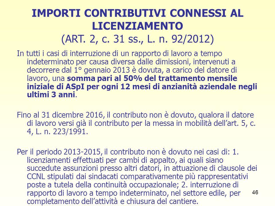 IMPORTI CONTRIBUTIVI CONNESSI AL LICENZIAMENTO (ART. 2, c. 31 ss. , L